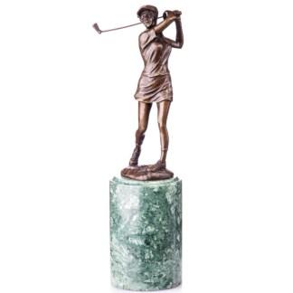 """Bronze Figur Golfspielerin beim Abschlag 31cm - Bronze Figur """"Golfspielerin beim Abschlag"""" 31cm"""