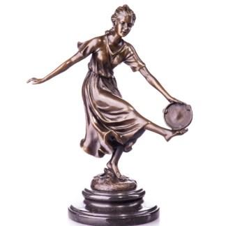 """Bronze Figur Tänzerin mit Tamburin 31cm - Bronze Figur """"Tänzerin - mit Tamburin"""" 31cm"""