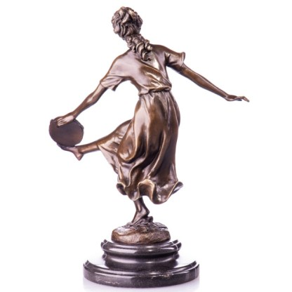 """Bronze Figur Tänzerin mit Tamburin 31cm3 - Bronze Figur """"Tänzerin - mit Tamburin"""" 31cm"""