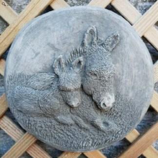 Relief Esel mit Fohlen rund