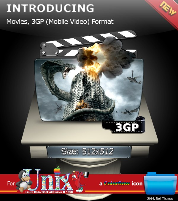 Movies, 3GP Video format folder icon (ColorFlow) by ...