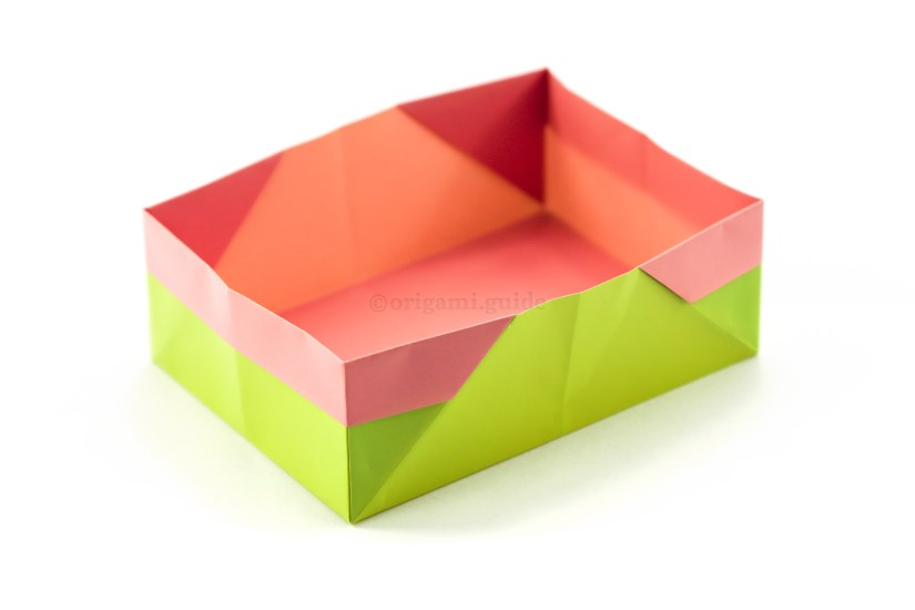 19. You can straighten out all of the edges, and now you have a completed easy rectangular origami box!