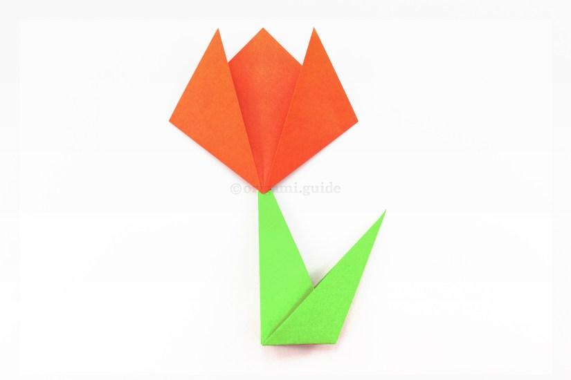 The completed origami flower!