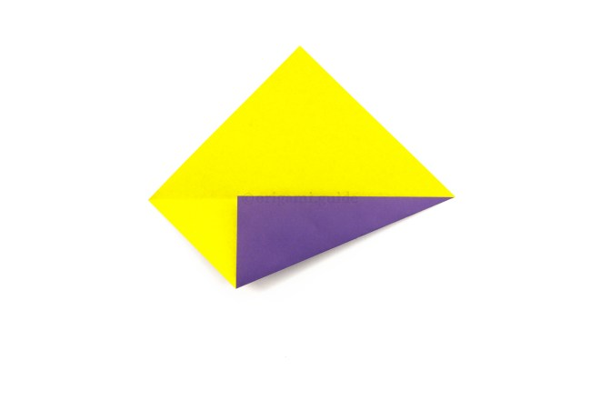 4. Take the bottom right diagonal edge and fold it up to align with the central crease.
