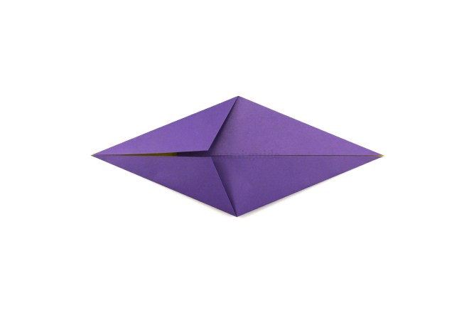 7. Again, take the top left diagonal edge and fold to to align with the central crease.