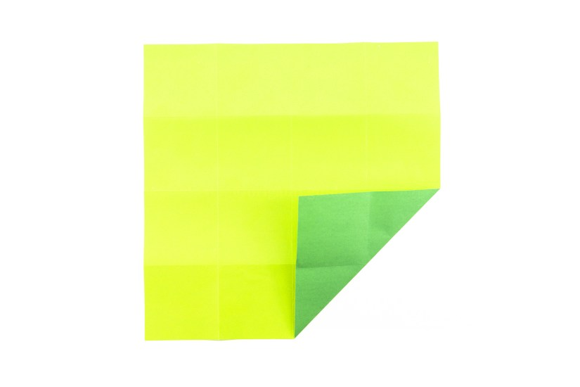 13. Fold the bottom right corner diagonally in to the center of the paper.