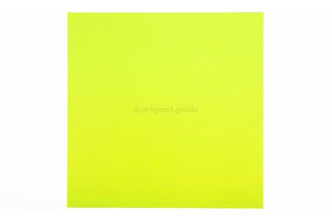 1. This is the front of our origami paper, the frog will end up being this colour.