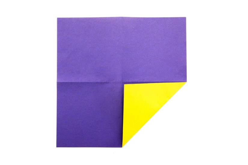 8. Fold one corner to meet the middle of the paper.