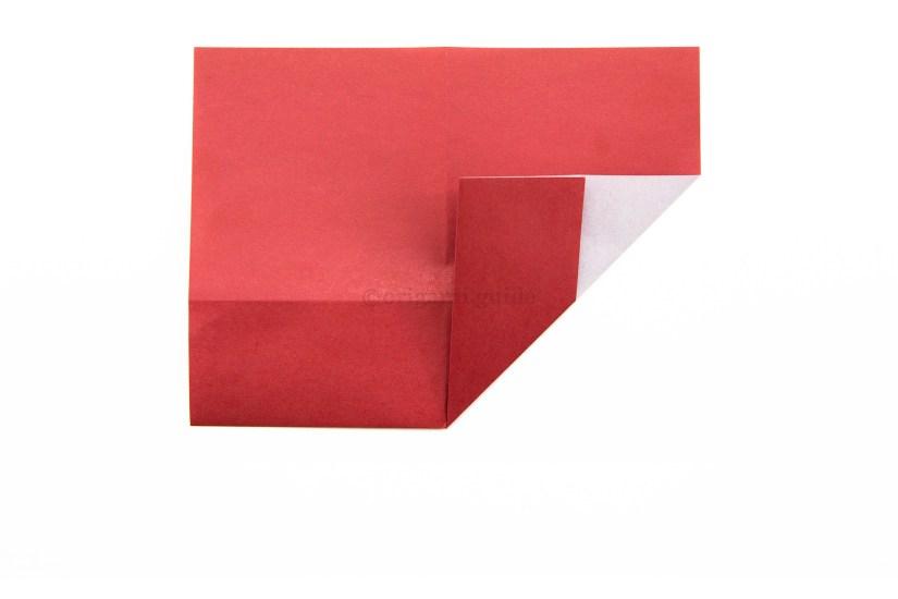 9. Fold the bottom right corner diagonally up to the left, aligning it with the vertical crease.