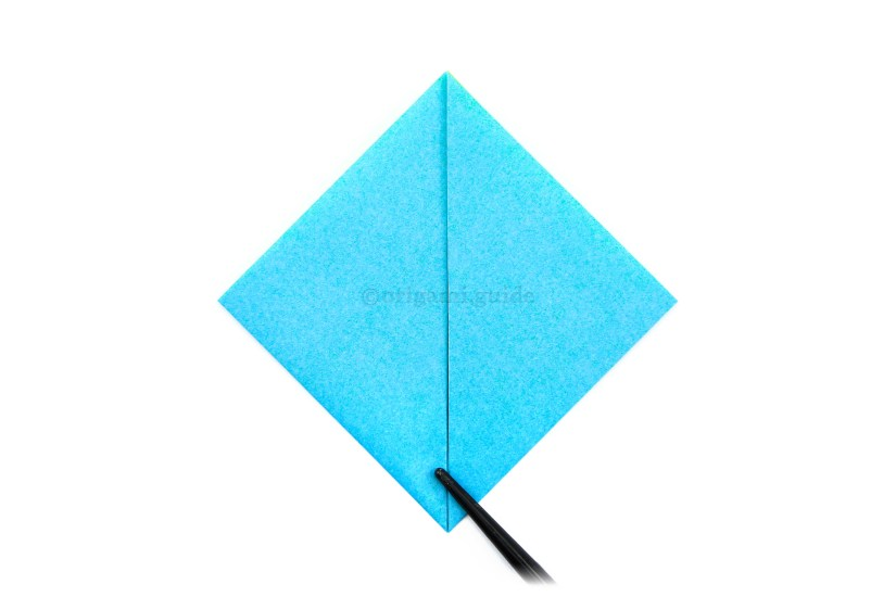 6. Fold the bottom left and right points diagonally up to the top point.