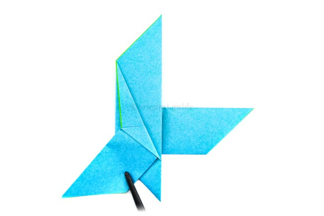 20. Fold the flap diagonally over and down to the left as shown.