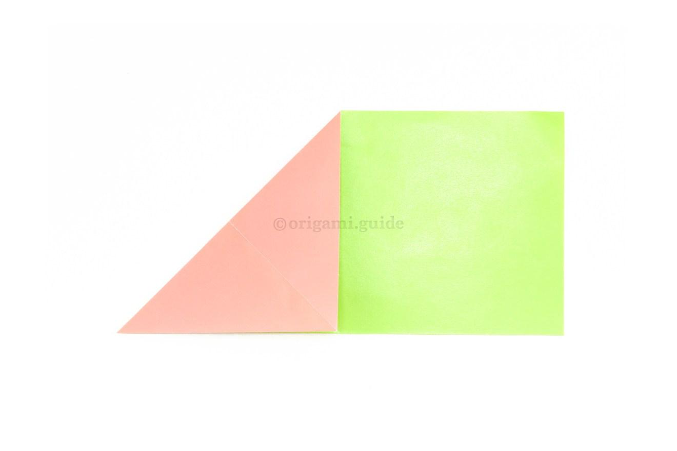 8. Fold the top left corner diagonally down to the bottom edge.