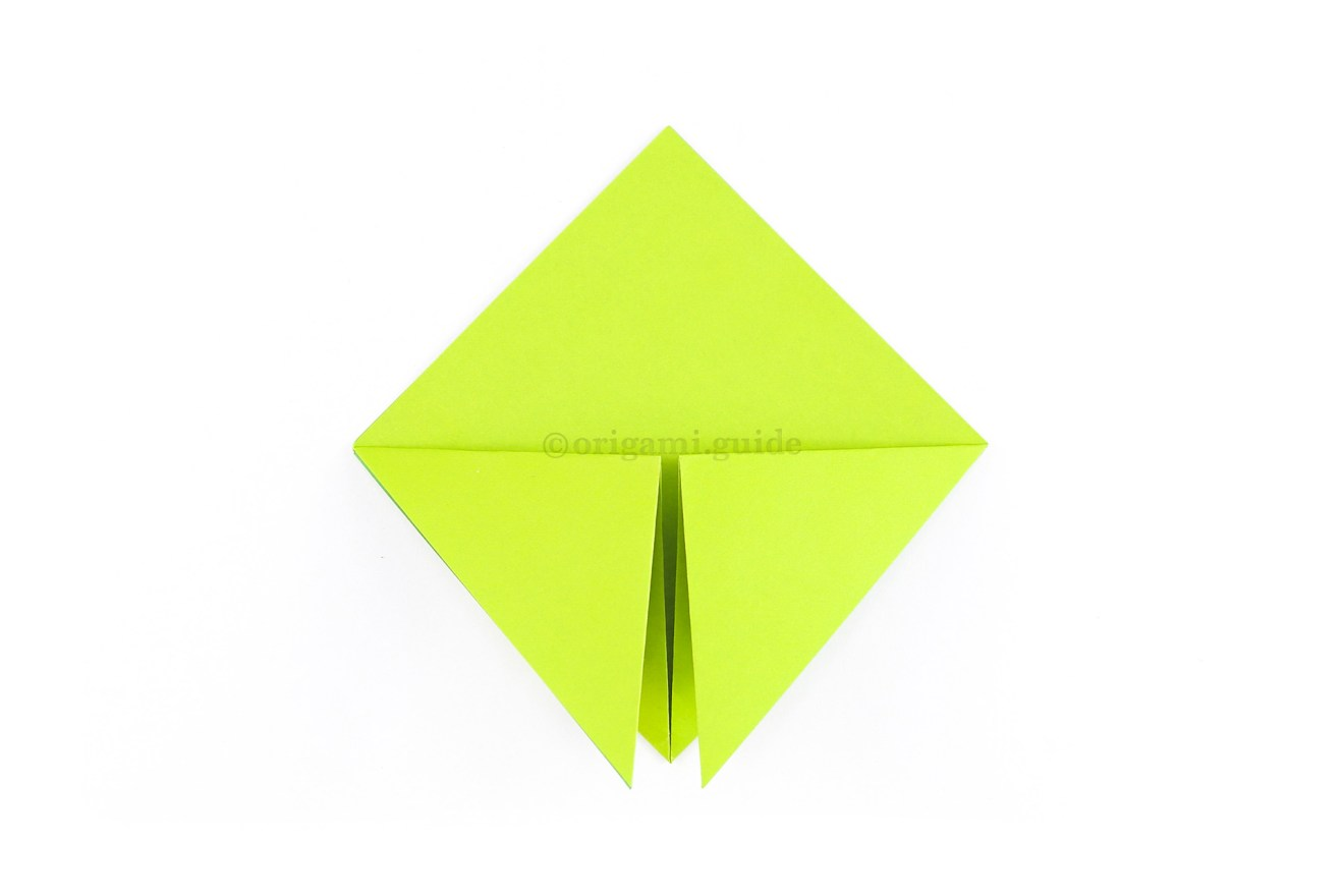 Fold both points down to the bottom point.