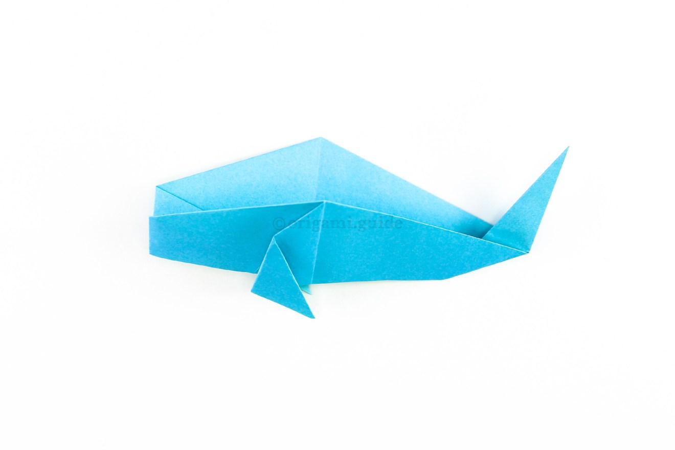 Fold the whale back up. The traditional origami whale is complete!