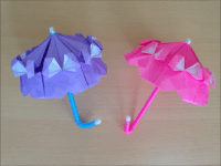 折り紙のフリル付きカサ(パラソル) 簡単な折り方