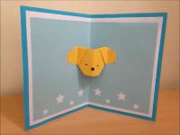 折り紙 犬の顔 誕生日ポップアップカード 簡単な作り方
