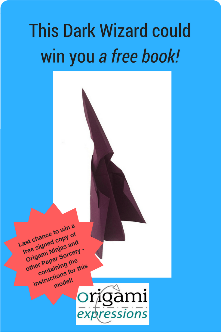 A review of Paul Hanson's Dark Wizard origami model, and the last chance to win a free copy of Paul's book - 'Origami Ninjas and other Paper Sorcery'!