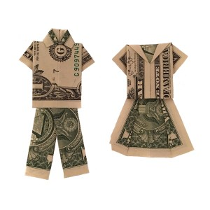 """His and Hers Money Origami Clothes """"Money Origami Clothes"""" origamiexpressions.com"""