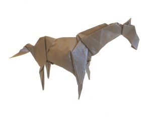 """Origami Horse, designed by Jason Lin """"An Origami Horse: A Better Bet than Horse Racing!"""" origamiexpressions.com"""