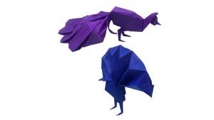 "Origami Peacocks by Neal Elias ""A Pair of Origami Peacocks"" origamiexpressions.com"