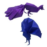 A Pair of Origami Peacocks