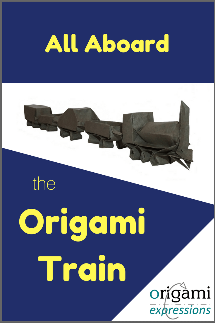 Want to make Mooser's Train? It's an advanced origami model. Check out the post for tips on folding, paper recommendations, and where to find the origami train instructions. | Origami Train | Origami Train Tutorial | Origami Train How to Make #origamitrain