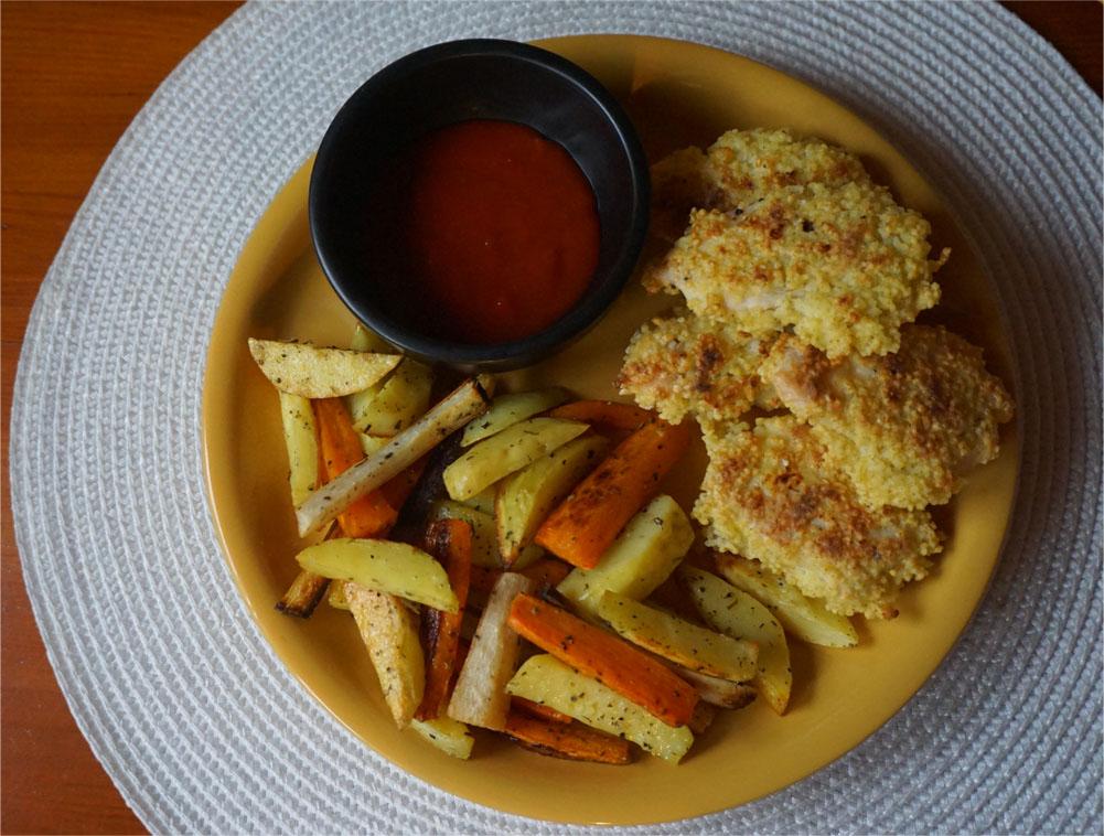 Przepis na nuggetsy z kurczaka z kaszą jaglaną + frytki warzywne