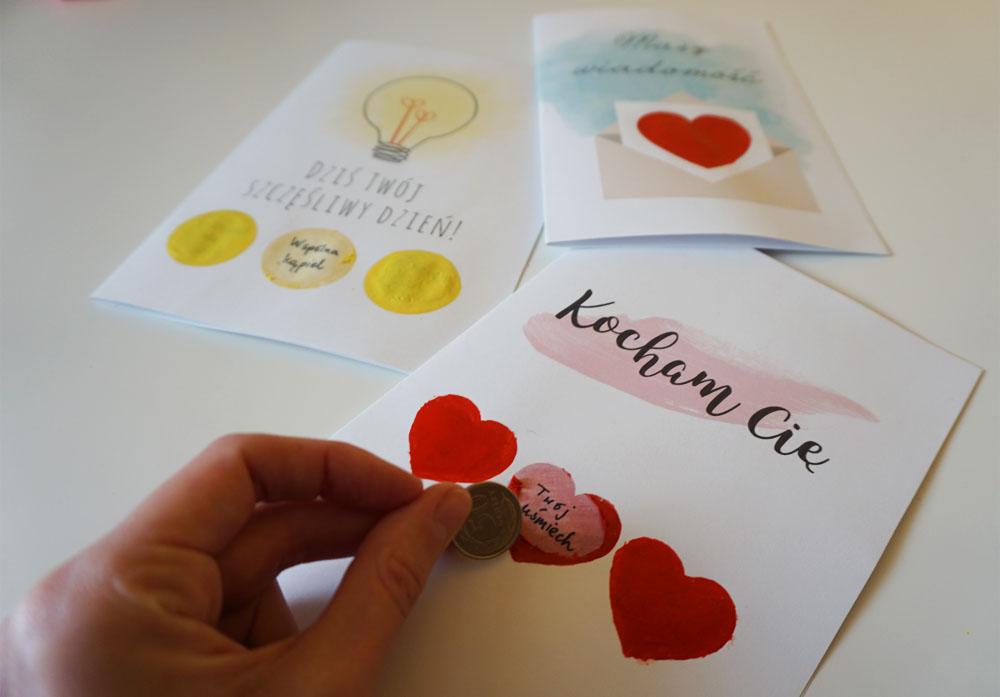 Zrób to sam zdrapka + kartki na Walentynki do druku