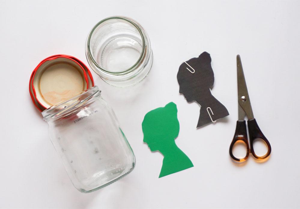 DIY Słoik na łakocie z Twoją sylwetką (profilem twarzy)
