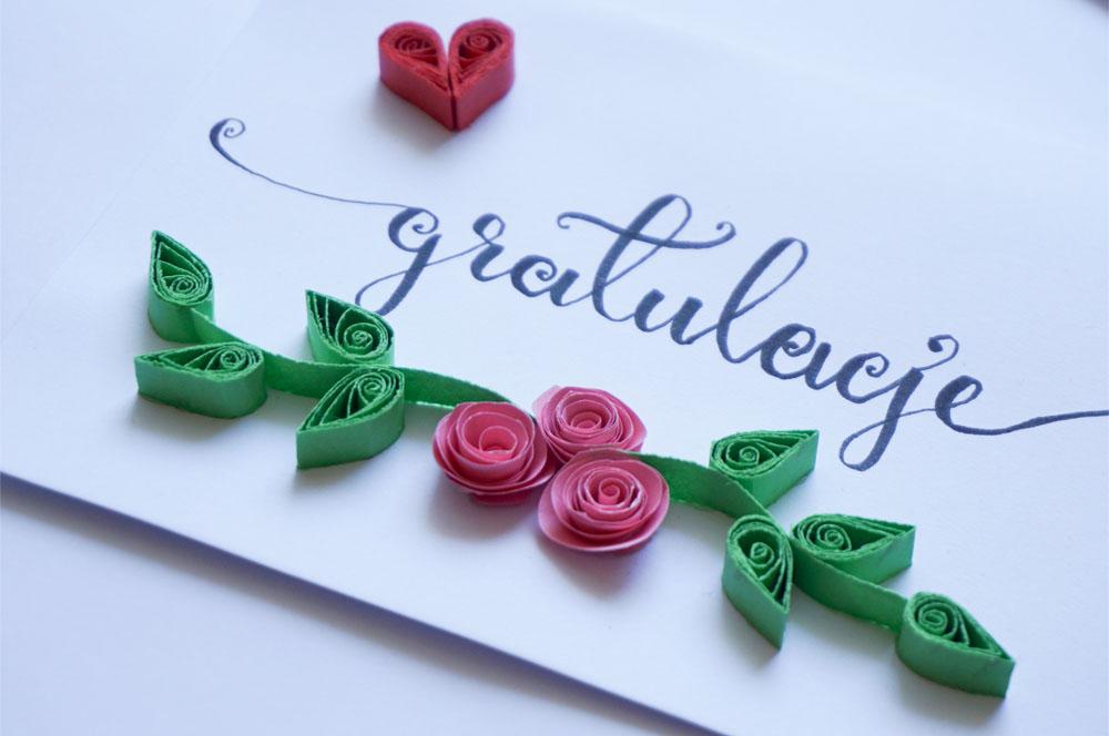 Zrób to sam - prosta kartka - quilling ze wzorem ślubnym