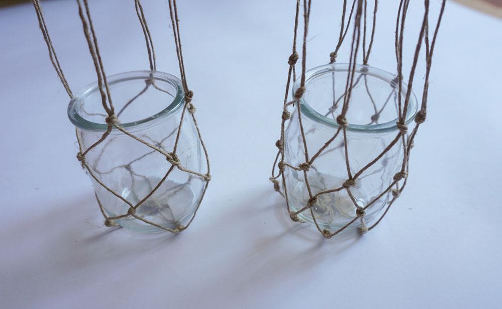 DIY Wiszące lampiony makrama ze słoika i sznurka