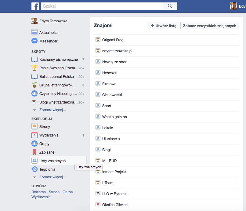 Jak zrobić listy znajomych na facebooku