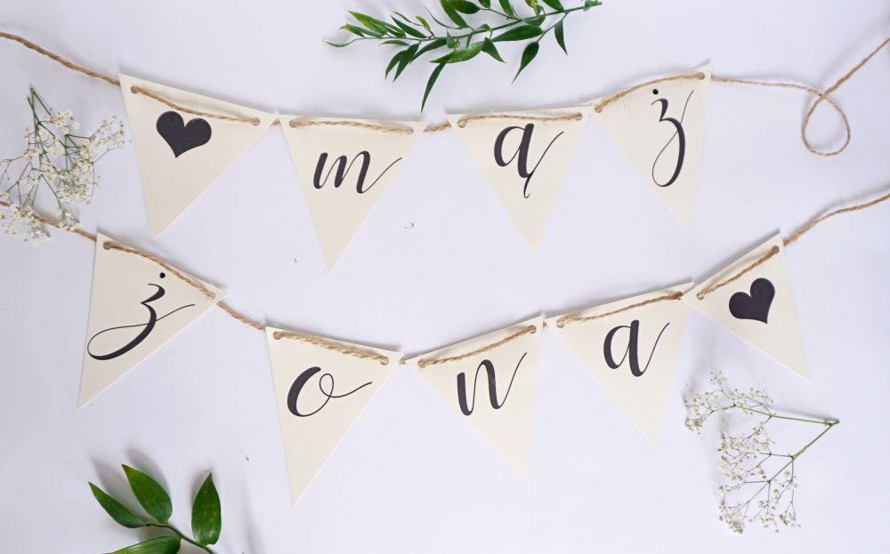 DIY Papeteria ślubna wykonana własnoręcznie - banner drukowany w domu