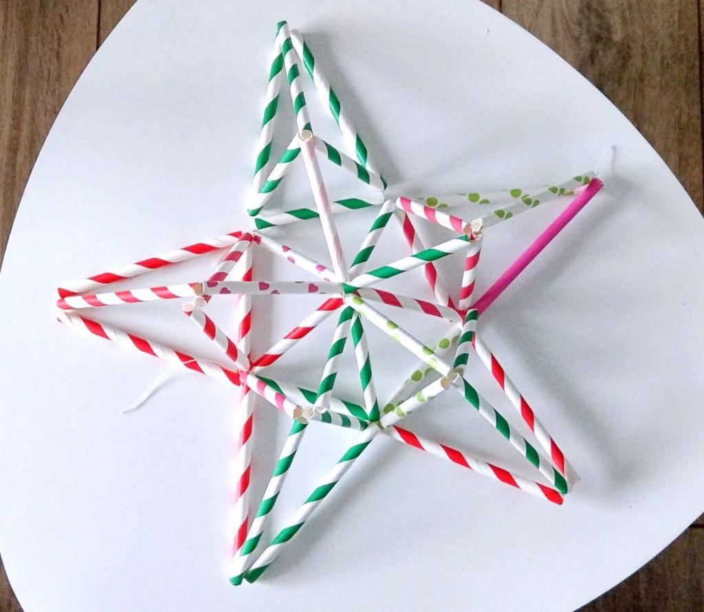 DIY świąteczne ozdoby ze słomek - gwiazda