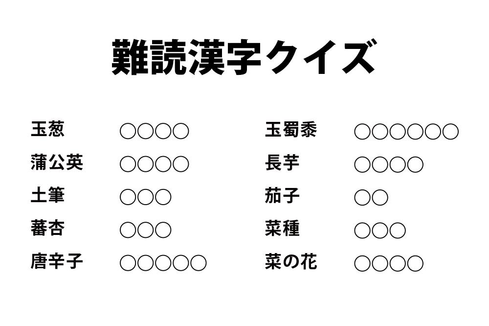 『難読漢字クイズ - 野菜編』|小学生のための無料学習プリント素材