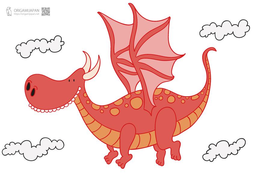 かわいい『ドラゴン』の切り紙《幼児子供向け》