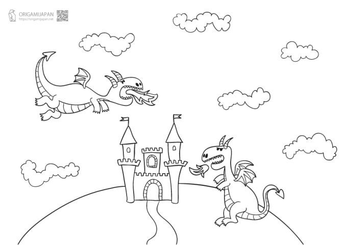 かわいいドラゴンのぬりえ3種類幼児子供向け無料