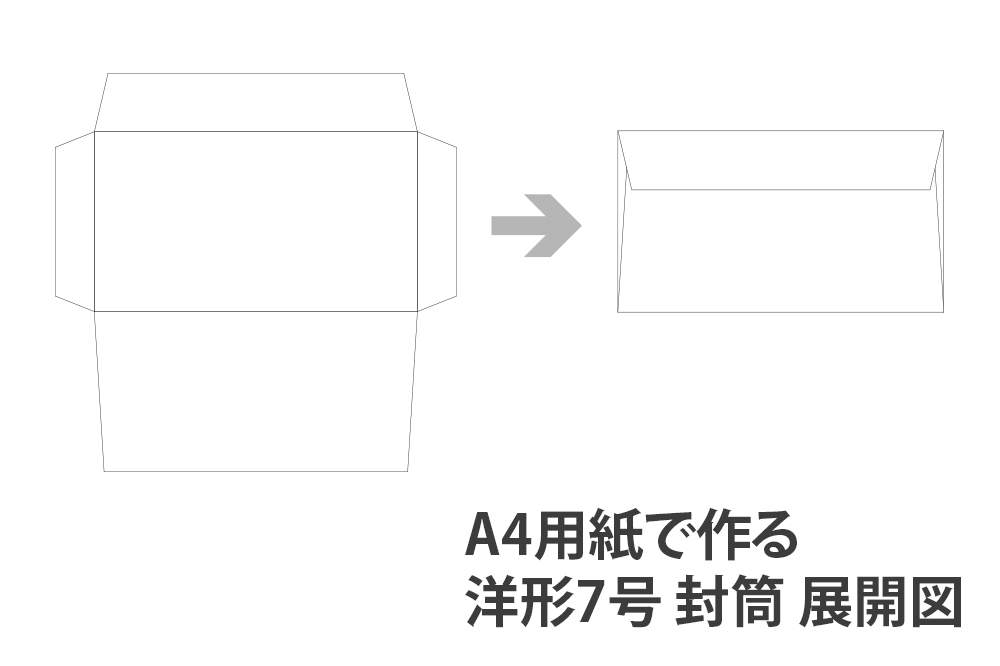 A4用紙で作る洋形7号 封筒 展開図