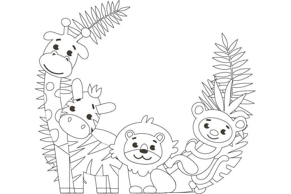 簡単な塗り絵 かわいい動物4匹 無料プリント高齢者の脳