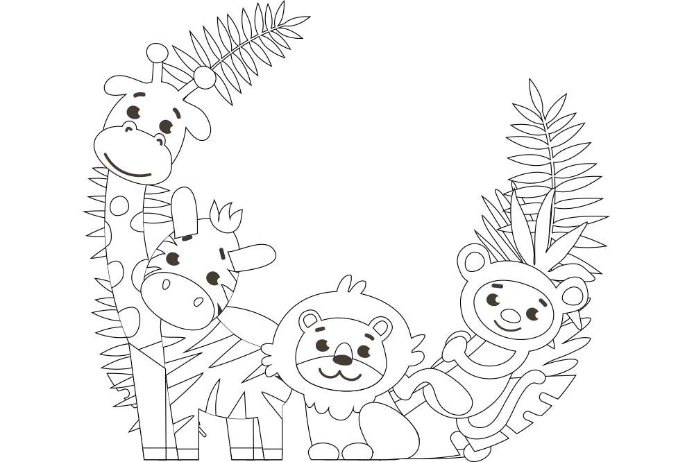 『簡単な塗り絵 - かわいい動物4匹』の無料 プリント