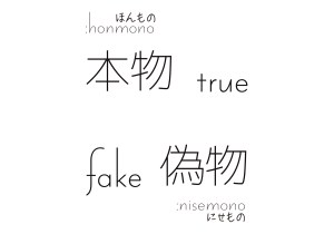 True, Fake / 本物, 偽物 All free Download Japanese KANJI Design Art