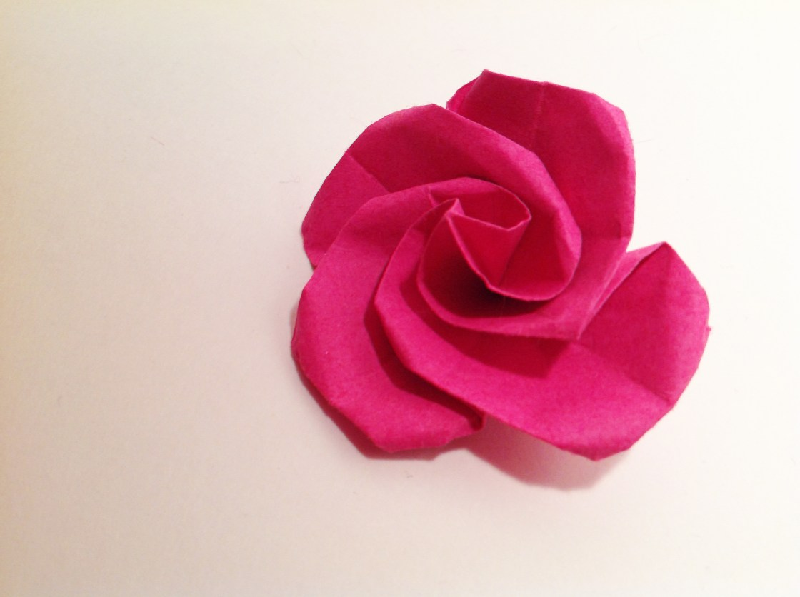 Fuschia Swirl Rose Origami by Carrie Gates