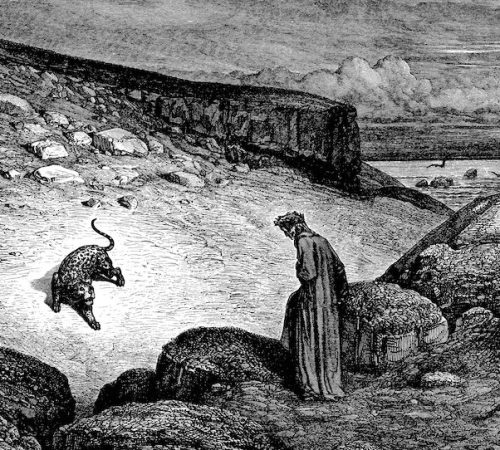 painting of Dante facing a panther in a bleak valley