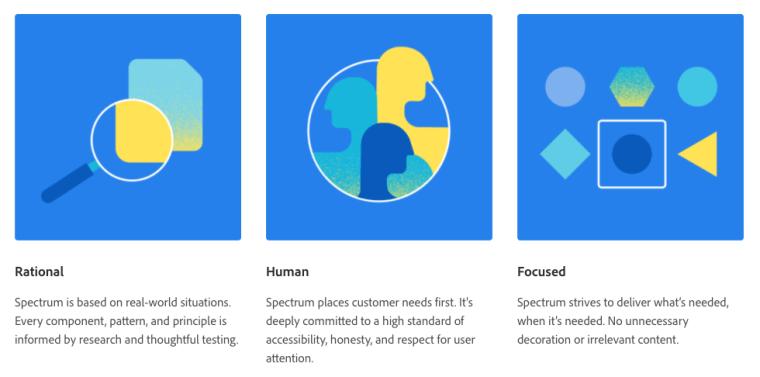 Screenshot of Adobe Spectrum's design principles for Rational, Human, and Focused