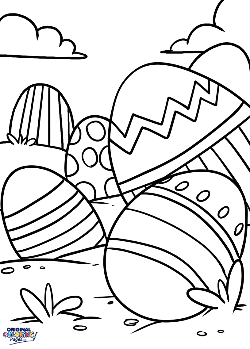 Easter Eggs Coloring Page Coloring Pages Original