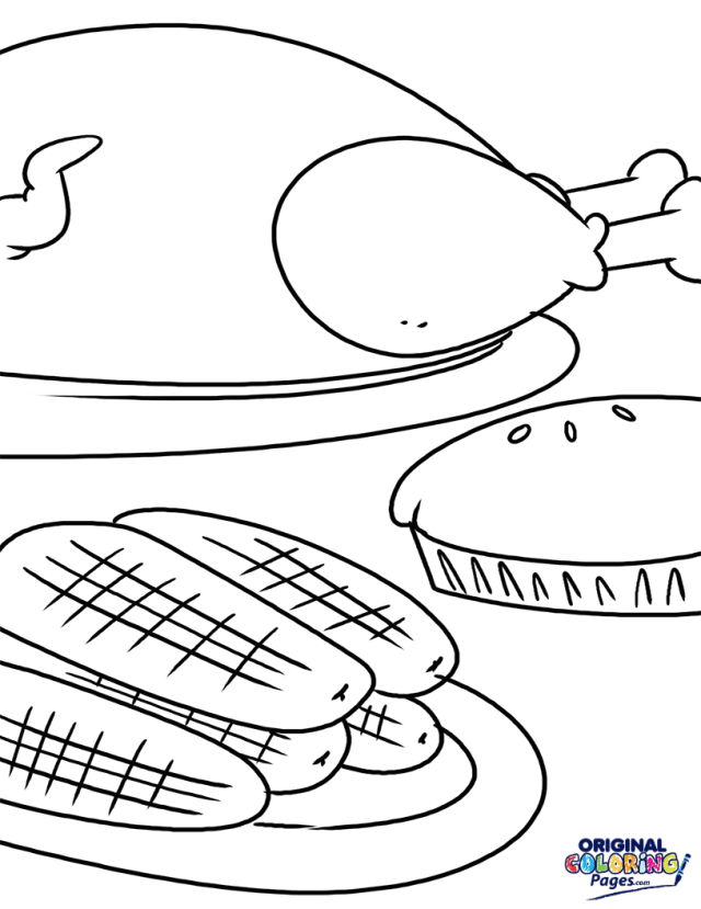 Thanksgiving Dinner Coloring Page  Coloring Pages - Original