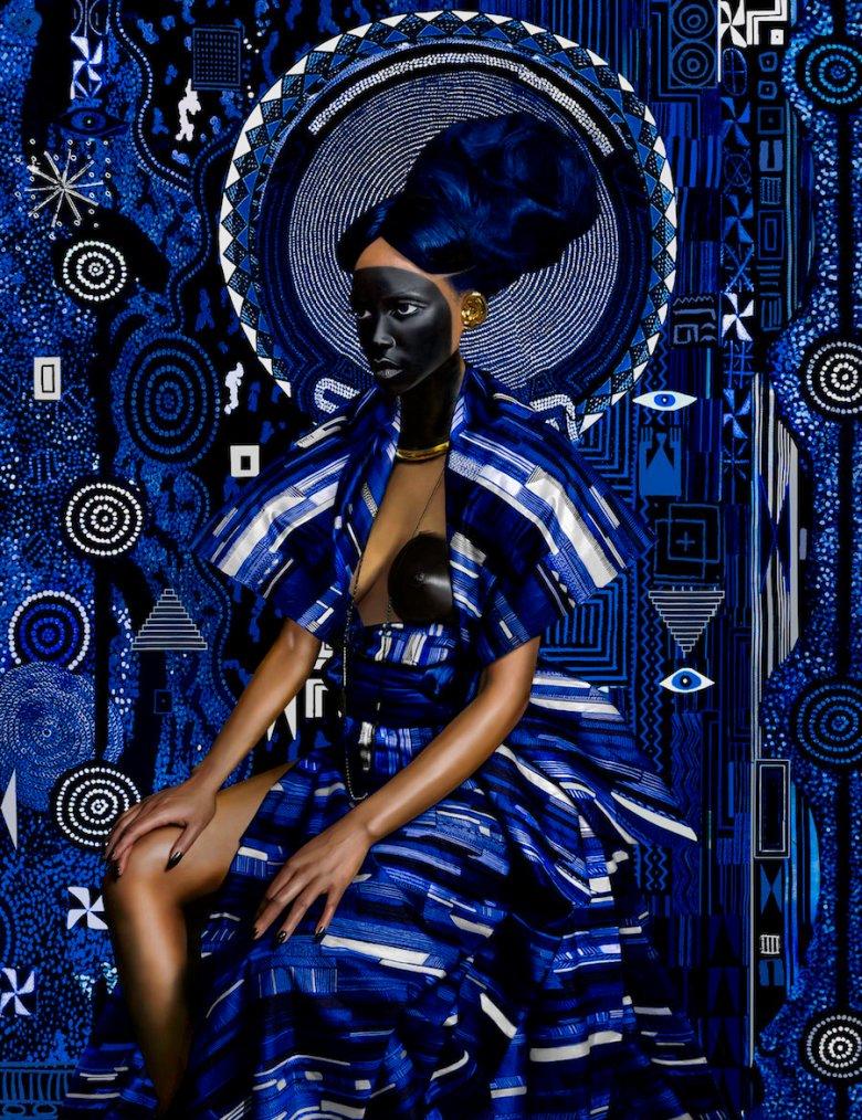 Yaa Asantewaa Pure 24 Karat Gold, Acrylic, Sumi Ink, Gouache, Print on Matte Canvas 52 x 40 in / 101.6 x 132.1 cm Unique 2016