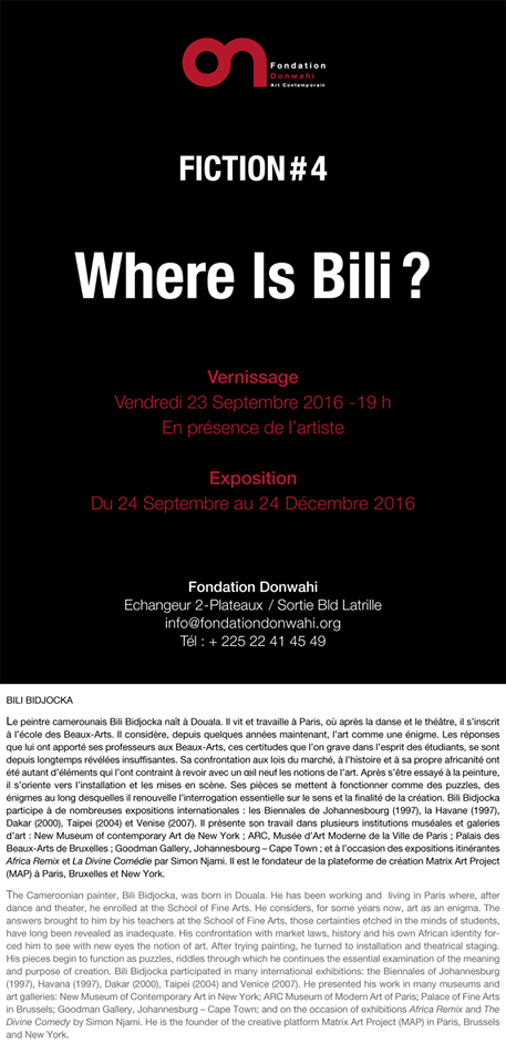 Exposition « Where is Bili? » de Bili Bidjocka à la Fondation Donwahi du 24 septembre au 24 décembre 2016