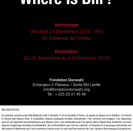 Exposition « Where is Bili? » de Bili Bidjocka à la Fondation Donwahi du 24 septembre au 24 décembre 2016