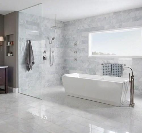 Modern Subway Marble Tile Bathroom